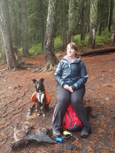 A very rainy hike with Charlie.